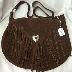 Handbags - Cocoa Brown Suede Western Fringed Purse